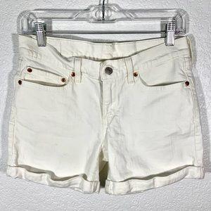 Levi's | White Denim Cuffed Shorts 27